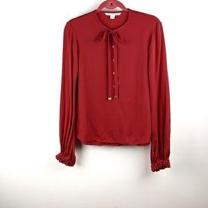 Diane von Furstenberg Whitman Red Silk Blouse